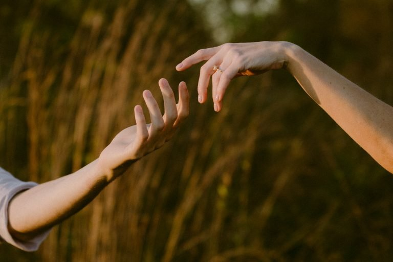close up photo of two hands reaching towards one another against a backdrop of long grasses in Raven Run Park Kentucky